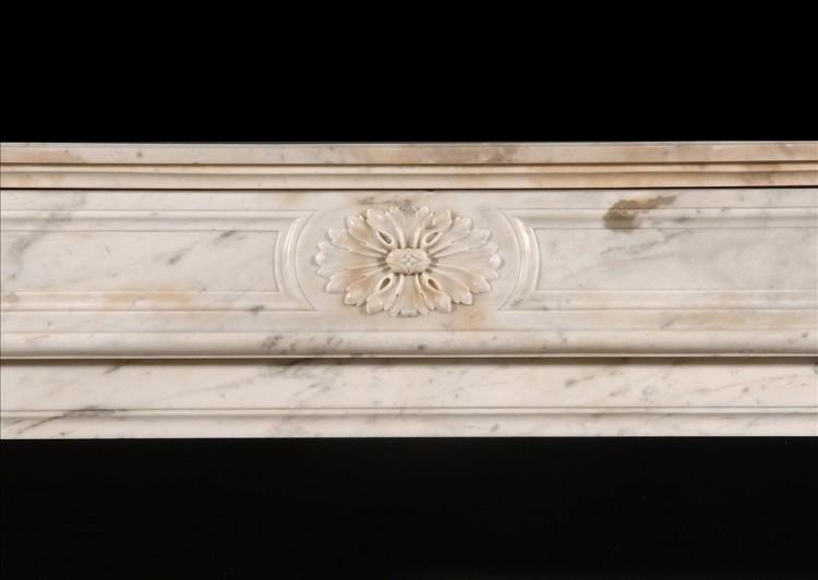 A LOUIS XVI STYLE CARRARA MARBLE FIREPLACE-Detail1