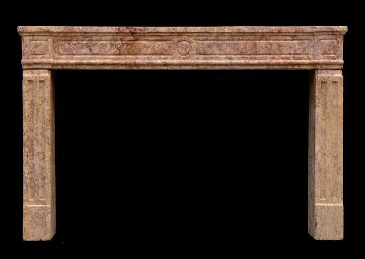 An 18th century French Louis XVI Brocatelle marble fireplace