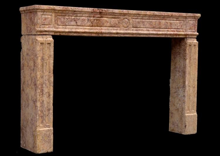 AN 18TH CENTURY FRENCH LOUIS XVI BROCATELLE MARBLE FIREPLACE-Detail3
