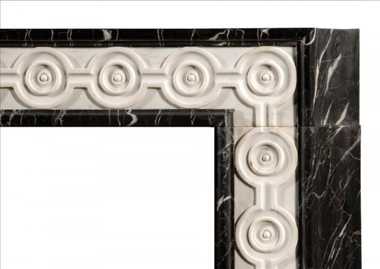 AN ENGLISH NERO MARQUINA MARBLE FIREPLACE WITH INLAID STATUARY-Detail1