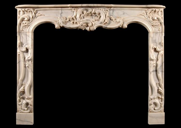 A French Provençale style Arabescato marble fireplace