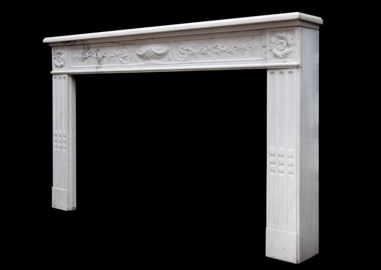 A PERIOD 18TH CENTURY FRENCH LOUIS XVI STATUARY MARBLE FIREPLACE-Detail5