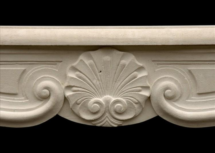 A 20TH CENTURY LOUIS XV STYLE LIMESTONE FIREPLACE-Detail1