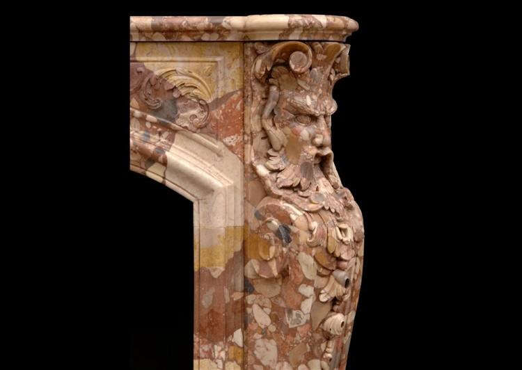 AN UNUSUAL FRENCH TRANSITIONAL STYLE BRECHE D'ALEP MARBLE FIREPLACE-Detail4
