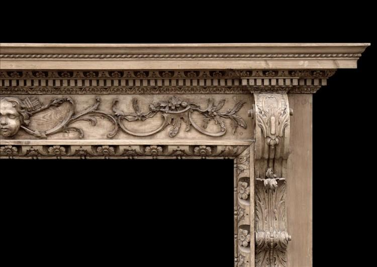 A FINE QUALITY MID 18TH CENTURY ENGLISH PINE FIREPLACE-Detail3