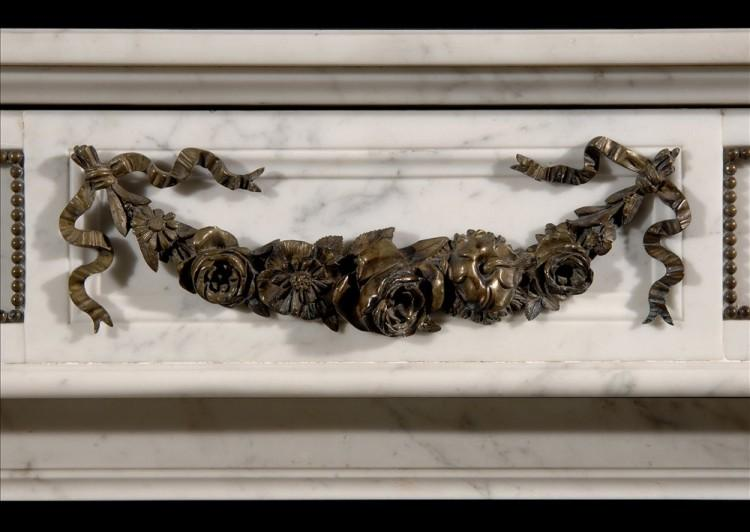A LOUIS XVI STYLE STATUARY CHIMNEYPIECE WITH BRASS ORMOLU EMBELLISMENTS-Detail1