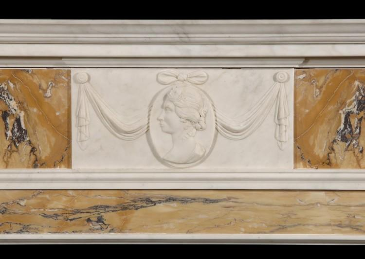 AN ENGLISH GEORGE III STYLE STATUARY AND INLAID SIENNA FIREPLACE-Detail1
