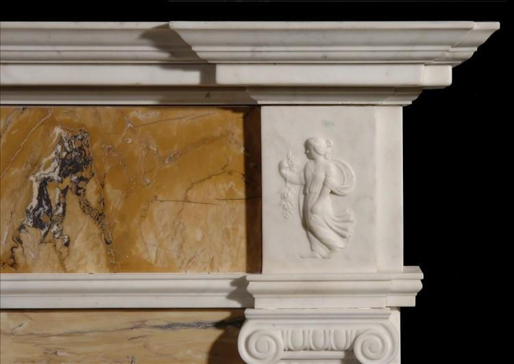 AN ENGLISH GEORGE III STYLE STATUARY AND INLAID SIENNA FIREPLACE-Detail2