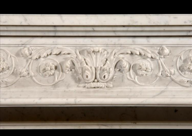 AN UNUSUAL 19TH CENTURY FRENCH XVI STYLE CARRARA MARBLE FIREPLACE-Detail1