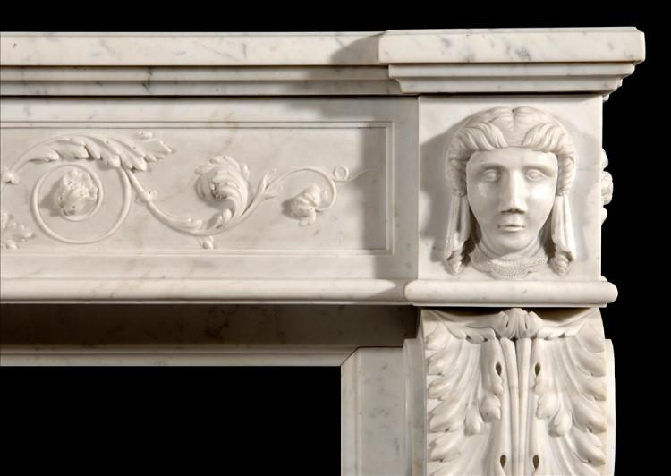 AN UNUSUAL 19TH CENTURY FRENCH XVI STYLE CARRARA MARBLE FIREPLACE-Detail2