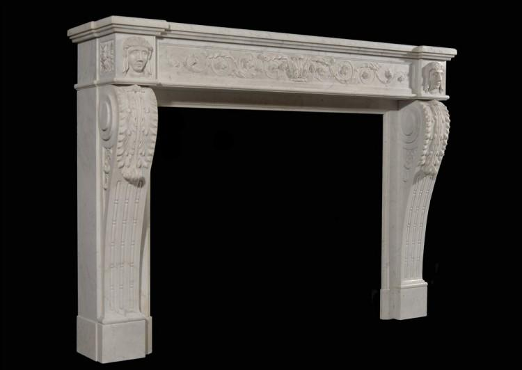 AN UNUSUAL 19TH CENTURY FRENCH XVI STYLE CARRARA MARBLE FIREPLACE-Detail3