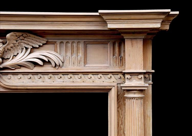 A NEO-CLASSICAL ENGLISH PINE FIREPLACE WITH CARVED EAGLE TO FRIEZE-Detail2
