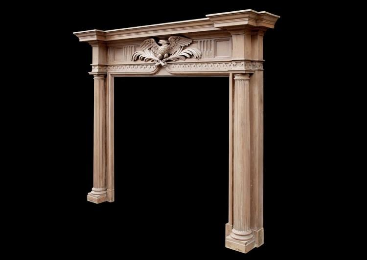 A NEO-CLASSICAL ENGLISH PINE FIREPLACE WITH CARVED EAGLE TO FRIEZE-Detail4