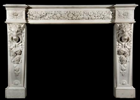 AN IMPRESSIVE ENGLISH MID VICTORIAN STATUARY WHITE MARBLE CHIMNEYPIECE