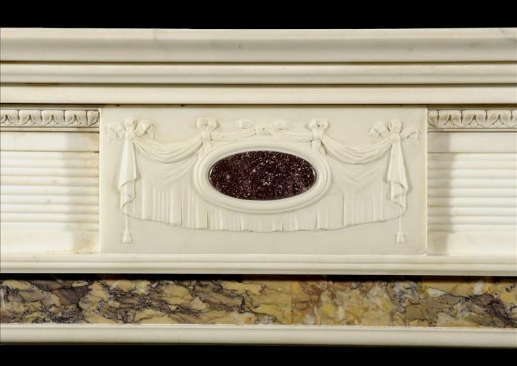 A REGENCY STYLE STATUARY MARBLE CHIMNEYPIECE INLAID WITH PORPHYRY-Detail1