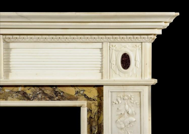 A REGENCY STYLE STATUARY MARBLE CHIMNEYPIECE INLAID WITH PORPHYRY-Detail3