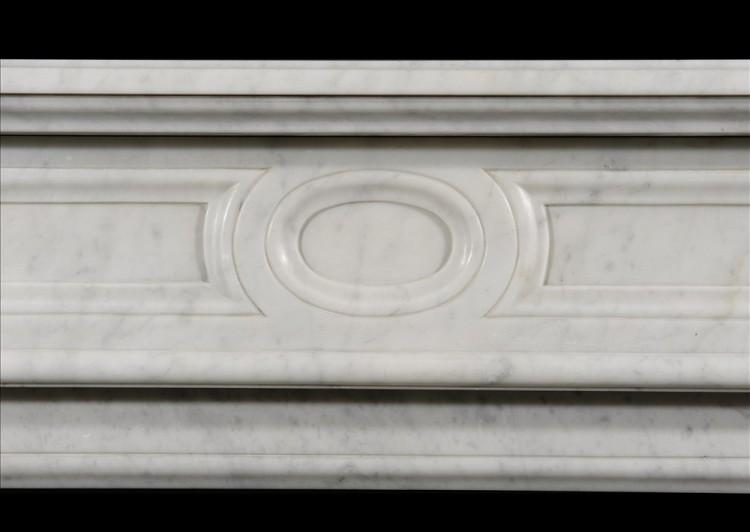 A NEO CLASSICAL 19TH CENTURY FRENCH CARRARA MARBLE FIREPLACE-Detail1