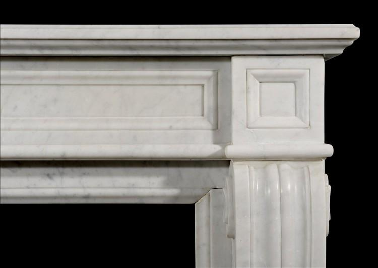 A NEO CLASSICAL 19TH CENTURY FRENCH CARRARA MARBLE FIREPLACE-Detail2