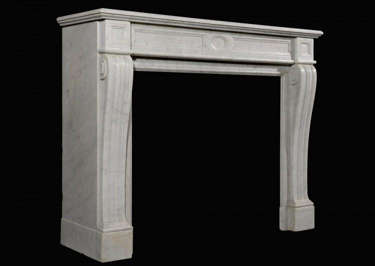 A NEO CLASSICAL 19TH CENTURY FRENCH CARRARA MARBLE FIREPLACE-Detail3