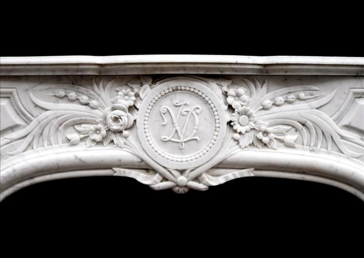 AN ATTRACTIVE LOUIS XIV STYLE CARRARA MARBLE CHIMNEYPIECE-Detail1