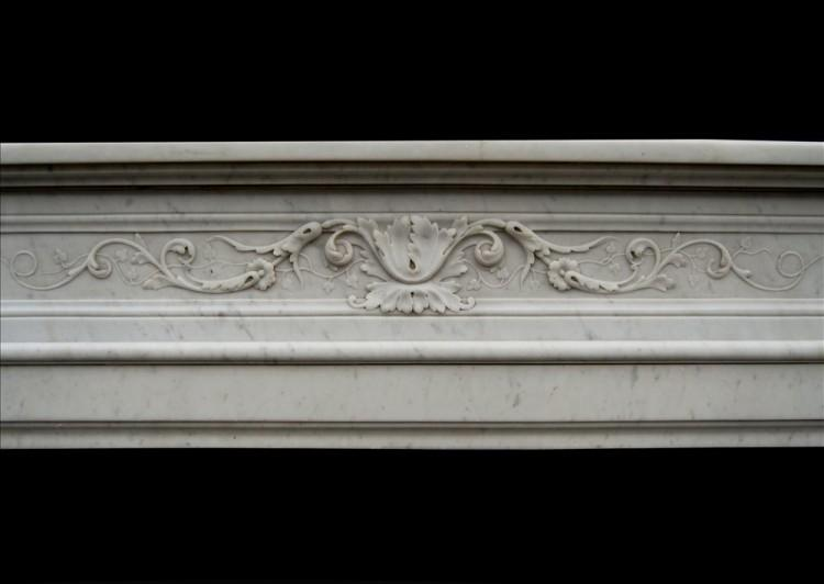 A 19TH CENTURY FRENCH LOUIS XVI CARRARA MARBLE FIREPLACE-Detail1