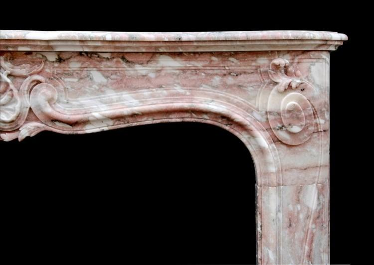 AN ANTIQUE FRENCH LOUIS XV STYLE FIREPLACE IN NORWEGIAN ROSE MARBLE-Detail1