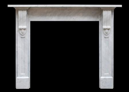 A REPRODUCTION VICTORIAN FIREPLACE IN WHITE MARBLE