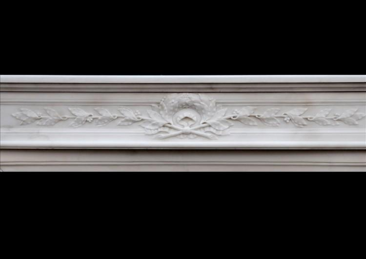 A FINE QUALITY FRENCH LOUIS XVI STYLE STATUARY MARBLE CHIMNEYPIECE-Detail1