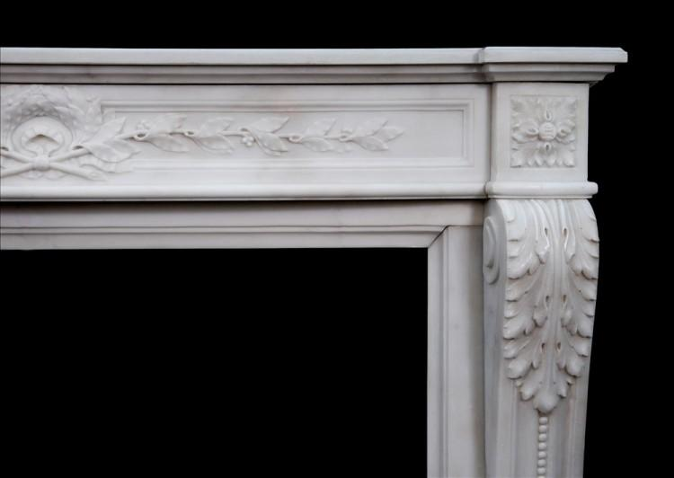 A FINE QUALITY FRENCH LOUIS XVI STYLE STATUARY MARBLE CHIMNEYPIECE-Detail2