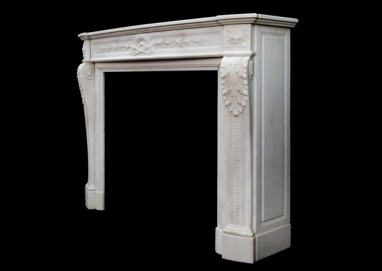 A FINE QUALITY FRENCH LOUIS XVI STYLE STATUARY MARBLE CHIMNEYPIECE-Detail5