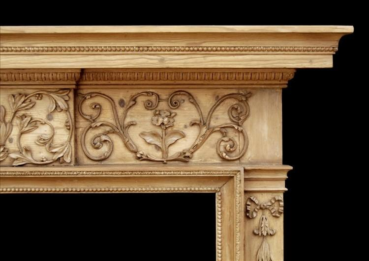AN ATTRACTIVE 18TH CENTURY GEORGE III PINE FIREPLACE-Detail2