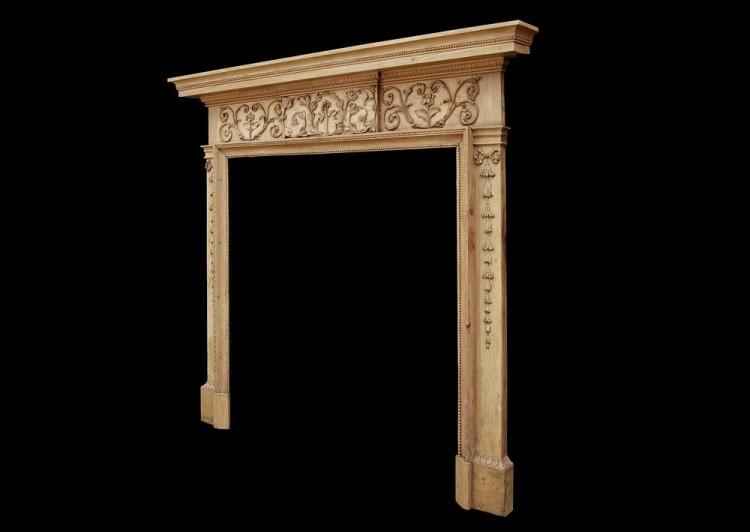 AN ATTRACTIVE 18TH CENTURY GEORGE III PINE FIREPLACE-Detail4