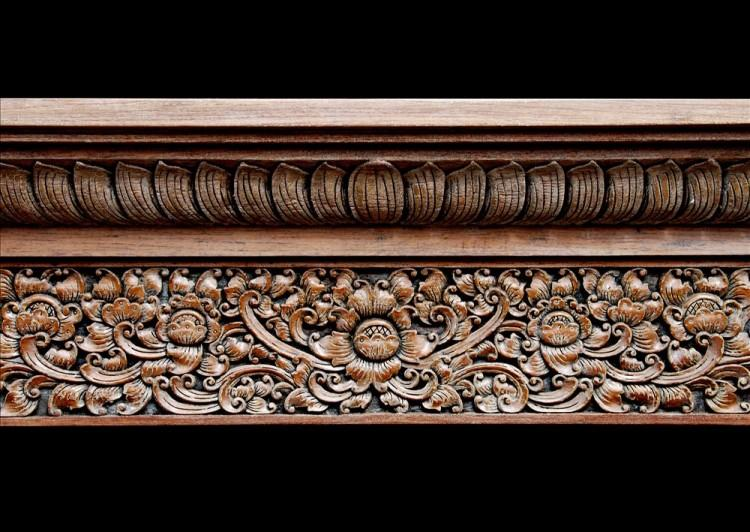 A HEAVILY CARVED HARDWOOD FIREPLACE WITH AN ORIENTAL INFLUENCE-Detail1