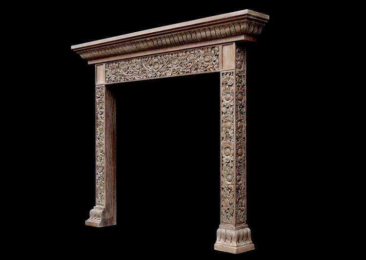 A HEAVILY CARVED HARDWOOD FIREPLACE WITH AN ORIENTAL INFLUENCE-Detail3
