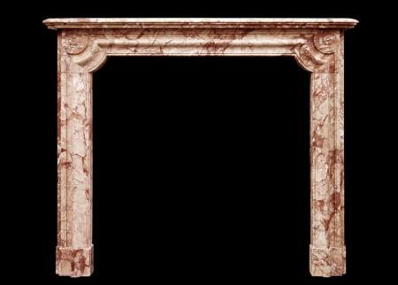 A FRENCH NAPOLEON III CHIMNEYPIECE IN BRECCIA PERNICE MARBLE