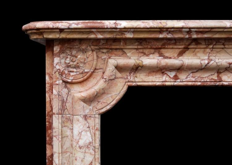 A FRENCH NAPOLEON III CHIMNEYPIECE IN BRECCIA PERNICE MARBLE-Detail3