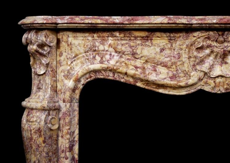 A FRENCH LOUIS XV STYLE FIREPLACE IN SPANISH BROCATELLE MARBLE-Detail2