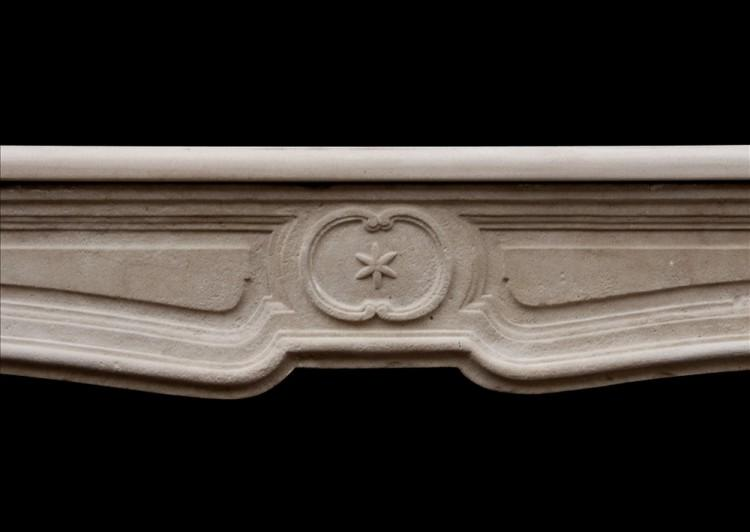 AN UNUSUAL 18TH CENTURY FRENCH LIMESTONE FIREPLACE-Detail1