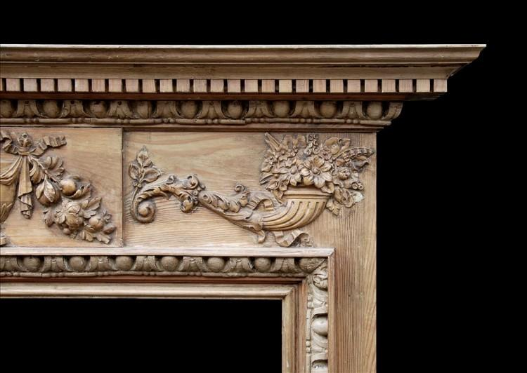 A ENGLISH GEORGIAN STYLE PINE FIREPLACE WITH GESSO ENRICHMENTS-Detail2