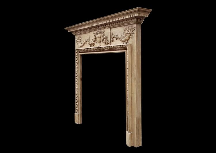 A ENGLISH GEORGIAN STYLE PINE FIREPLACE WITH GESSO ENRICHMENTS-Detail4