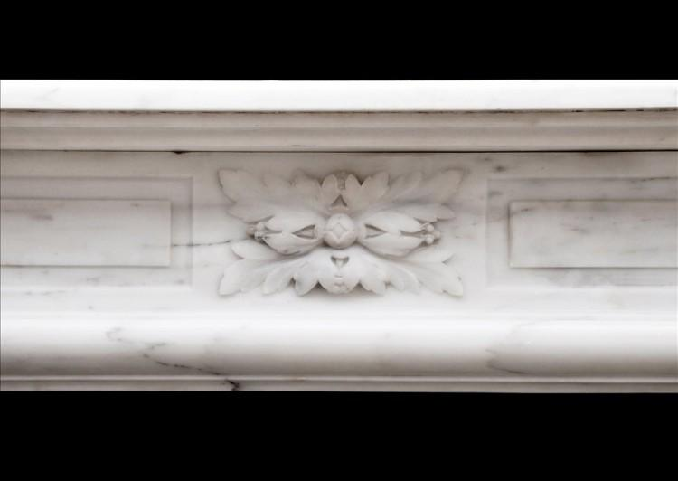 AN FRENCH LOUIS XVI STYLE FIREPLACE IN STATUARY MARBLE-Detail2