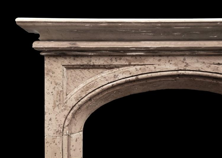 A 19TH CENTURY ENGLISH GOTHIC STYLE STONE FIREPLACE-Detail1