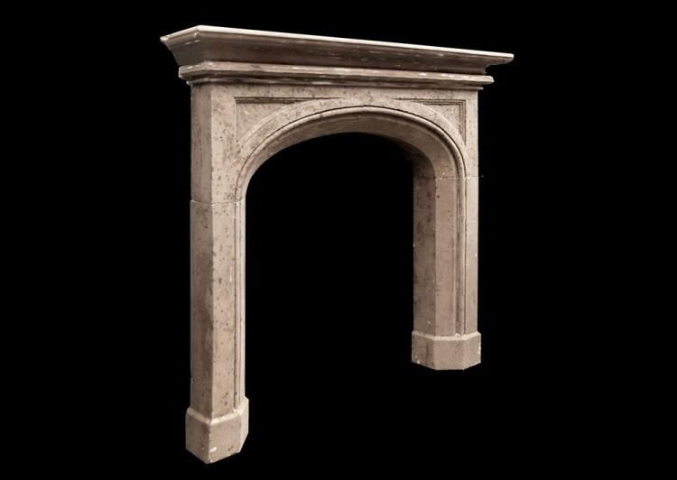 A 19TH CENTURY ENGLISH GOTHIC STYLE STONE FIREPLACE-Detail2