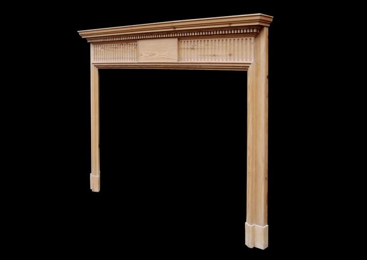 AN ENGLISH PINE FIREPLACE WITH FLUTED FRIEZE-Detail2