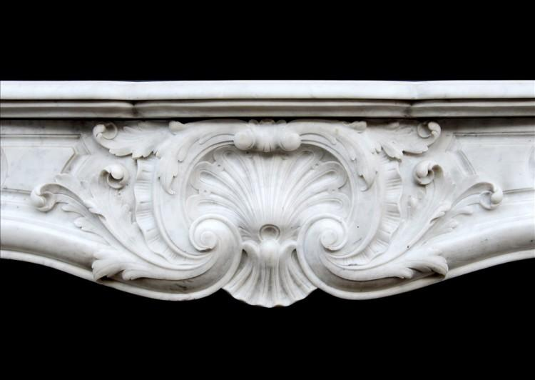 A FRENCH CARRARA MARBLE LOUIS XV STYLE FIREPLACE-Detail1