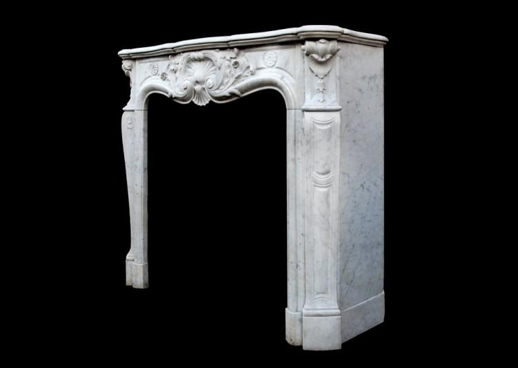 A FRENCH CARRARA MARBLE LOUIS XV STYLE FIREPLACE-Detail4