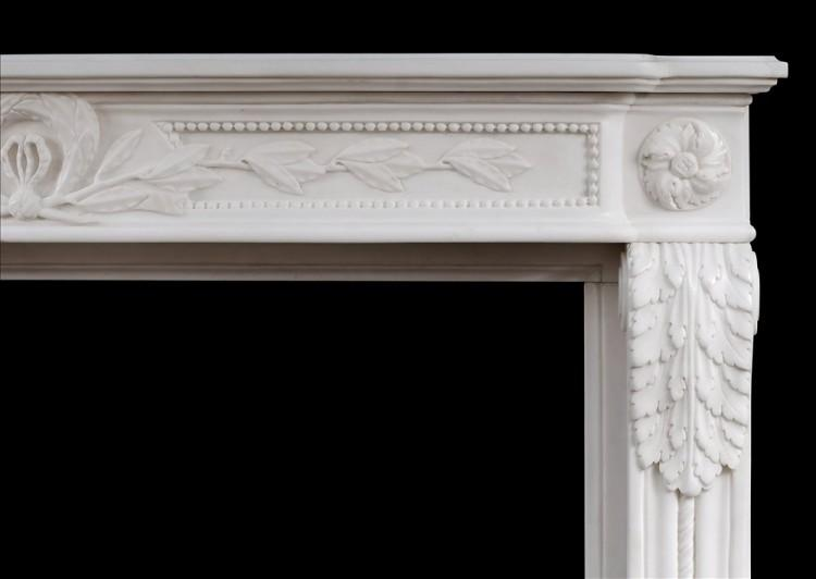 A CARVED FRENCH LOUIS XVI STYLE WHITE MARBLE FIREPLACE-Detail1