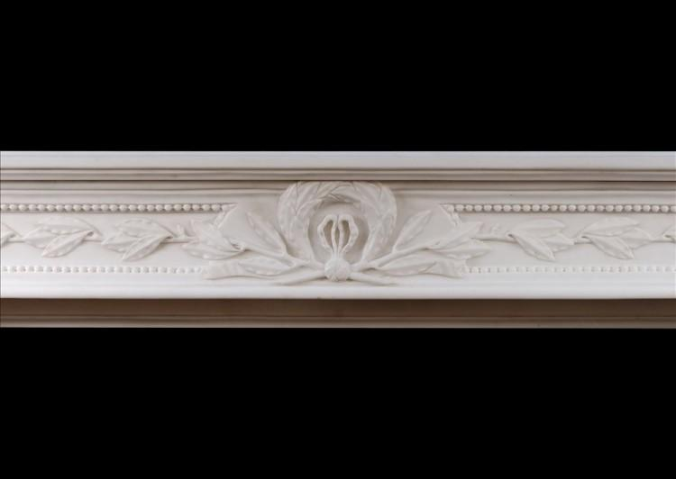A CARVED FRENCH LOUIS XVI STYLE WHITE MARBLE FIREPLACE-Detail2