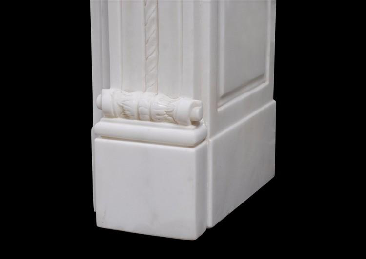 A CARVED FRENCH LOUIS XVI STYLE WHITE MARBLE FIREPLACE-Detail3