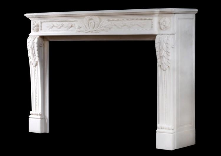A CARVED FRENCH LOUIS XVI STYLE WHITE MARBLE FIREPLACE-Detail4